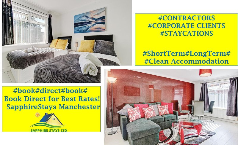 2BR Holiday Home in Manchester near Salford Quays & Old Trafford *Free Parking*, vacation rental in Salford