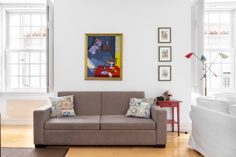 Stylish decor, comfortable couches and bright apartment