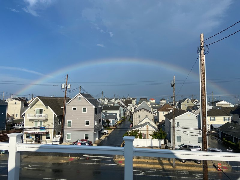 Rainbow over the ocean from the roof deck