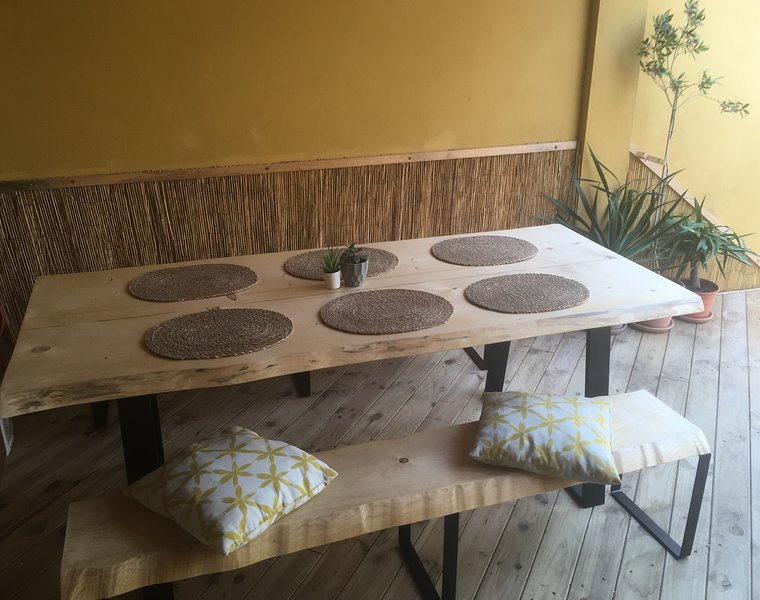 Large dining table for 6 with benches for eating outside