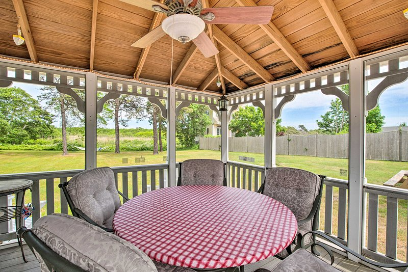 The West Dennis vacation rental sits just a half mile from the beach.