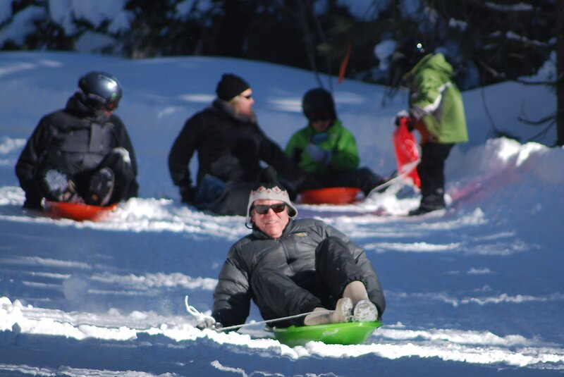 Who said sledding is just for kids. We provide sleds and snowshoes for our guests to use.