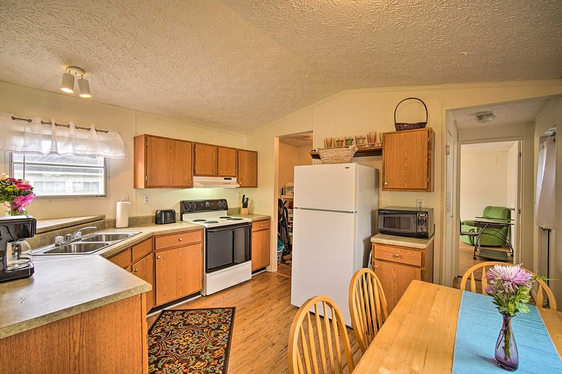The 3-bedroom, 2-bathroom house features a spacious kitchen.