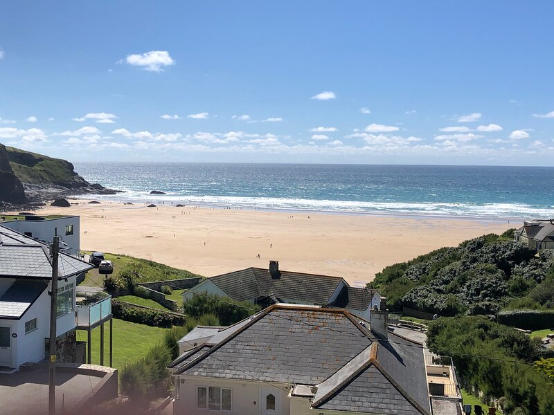 The superb Mawgan Porth beach seen from the house