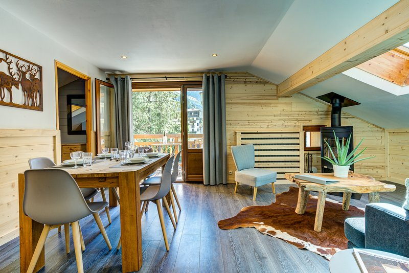 Sapin 3 Chamonix centre. 3 bedrooms, sleeps 5, view Mont Blanc, vacation rental in Chamonix
