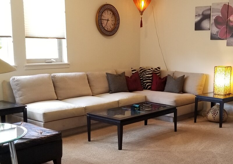 Comfy down filed sectional couch for relaxing after a hard day!