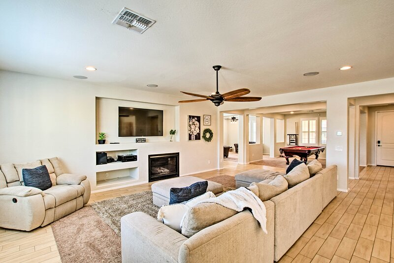 Main Living Room: Smart TV | Fireplace | Open Concept Layout