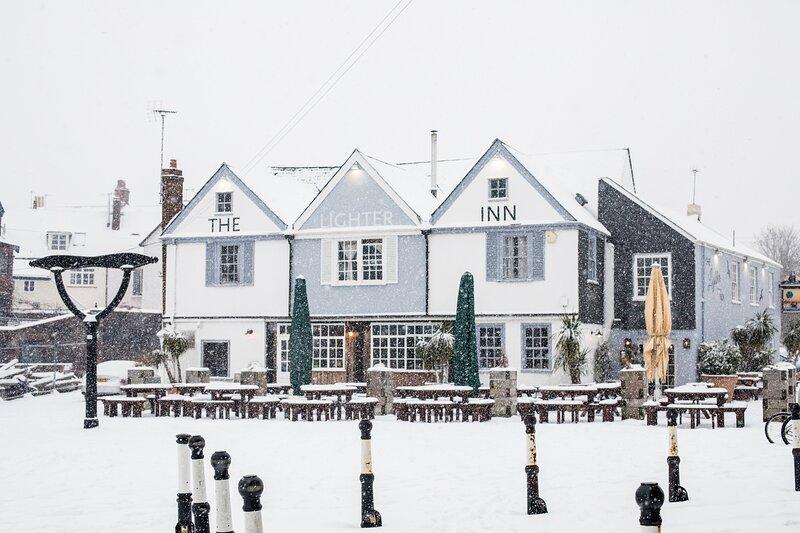 The Lighter inn on the quay in winter