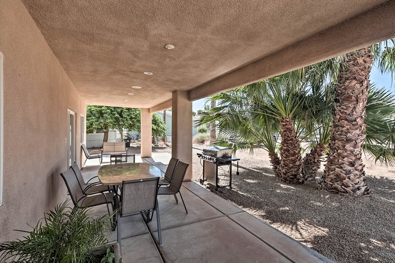 This private oasis sits just a short 0.2-mile walk from the Colorado River.