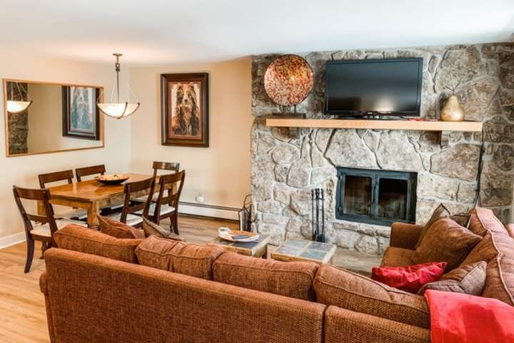 Relax by the fire after a long day on the slopes or hiking.