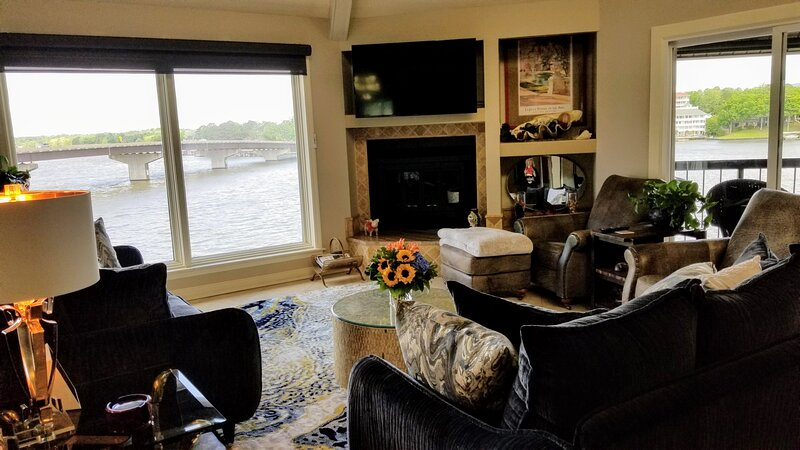 Comfy cozy living room with great views.