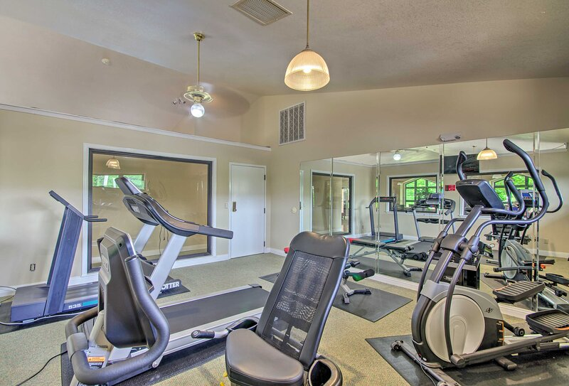 There's no need to leave your fitness routine behind, thanks to the on-site gym!