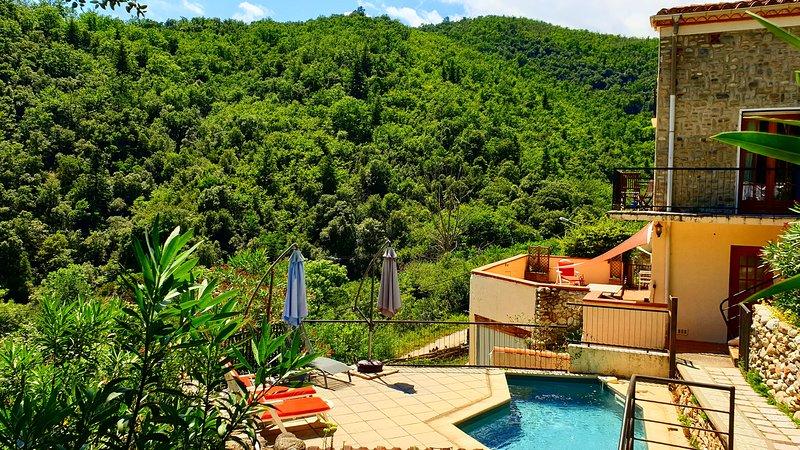 Casa Sola Apartment - private pool, private terrace and stunning views, location de vacances à Corsavy