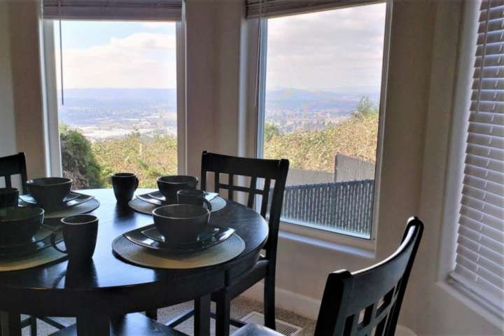 The views of the valley are spectacular from the dining and patio areas.