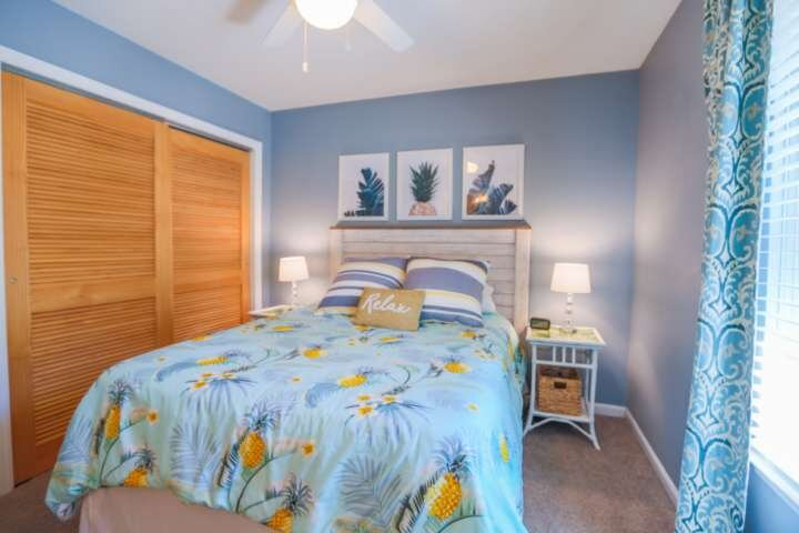 Each of the home's three bedrooms has a queen size bed.