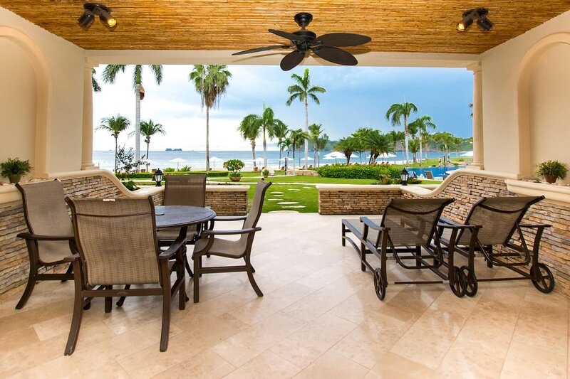 Outdoor patio with dining table