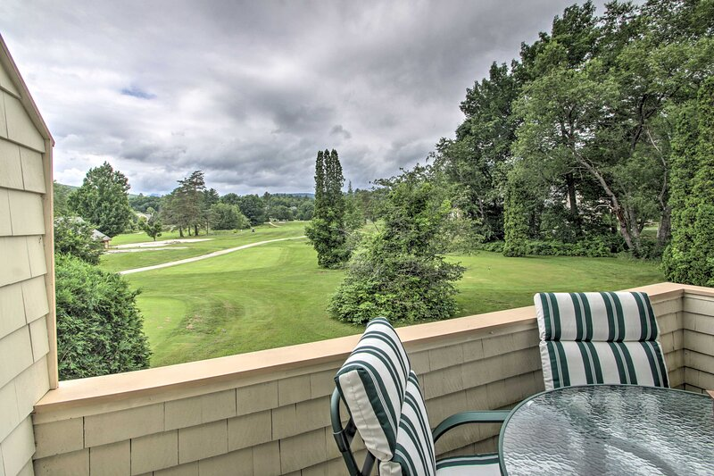 Enjoy peaceful views of the golf course from the private balcony.