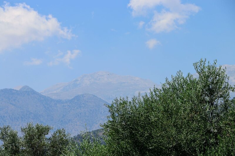 The White Mountains in the heat haze of summer. This is the view from the roof terrace and balconies