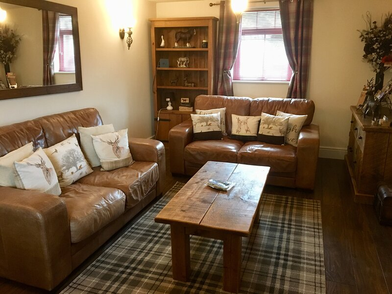 Living room area with electric coal effect stove fire, bluetooth surround sound, free sat TV, wifi
