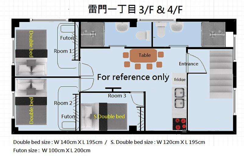 KAMINARIMON 4F WHOLE FLOOR 3 BEDROOMS 2 BATHROOMS 2 TOILETS, casa vacanza a Shikoku