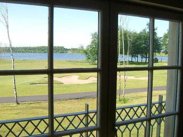 View over 4th fairway of the Faldo course towards lake