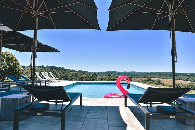 Fanny the Flamingo enjoying the pool