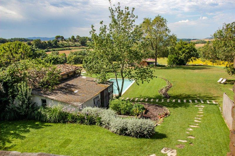 Masía Can Grau - Habitación 5 en entorno natural con jardín. piscina y caballos, casa vacanza a Bascara