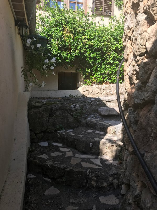 steps down to  the apartment