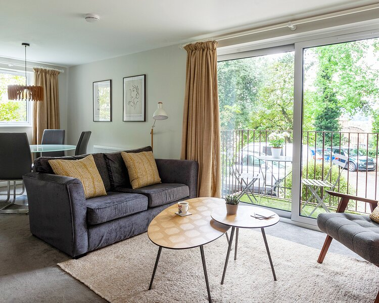 Do you like mid century modern?  Then this is your place .  Newly refurbed apartment with city views
