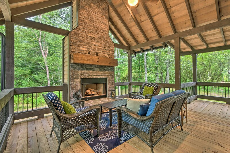 You'll love spending your days on this spacious covered porch.