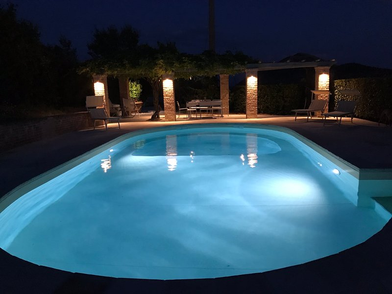 Swimming pool at night, with dining area under wisteria covered pergola