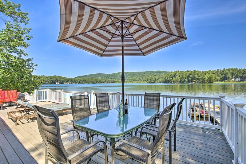 Situated right on the water, you'll have access to a deck, dock, and boats!