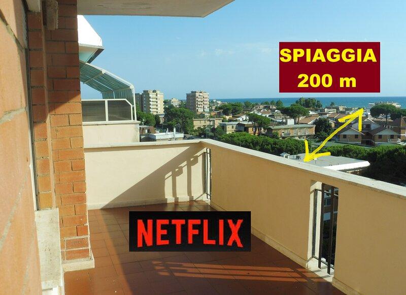 Terrazza in centro + Spiaggia bella + Terme, holiday rental in Marina Velca