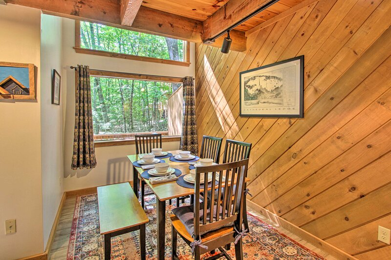 The vacation rental sits just a few miles from North Conway's outlets and town.