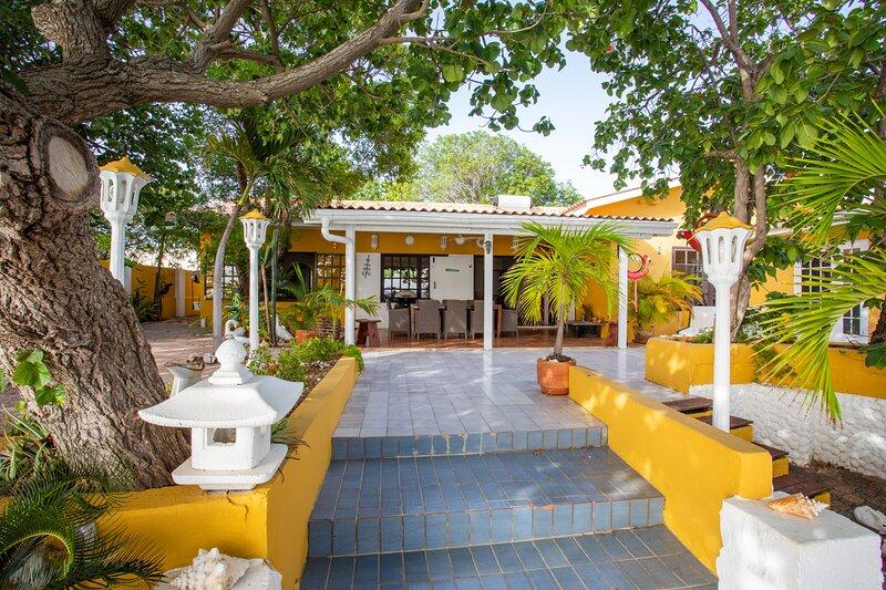 Villa seen from seaside terrace.