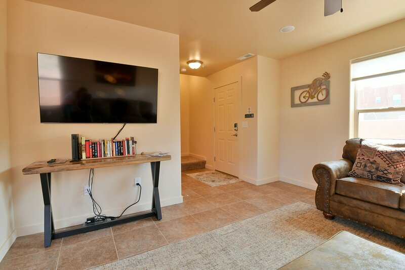 Living room and entertainment center.