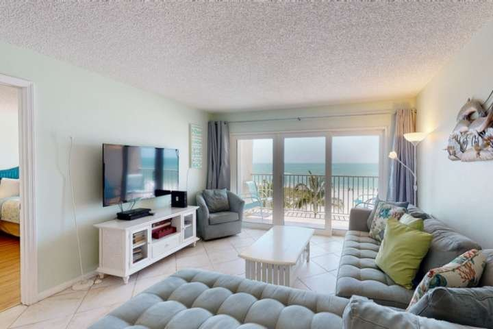 Beach views from the living room and balcony.