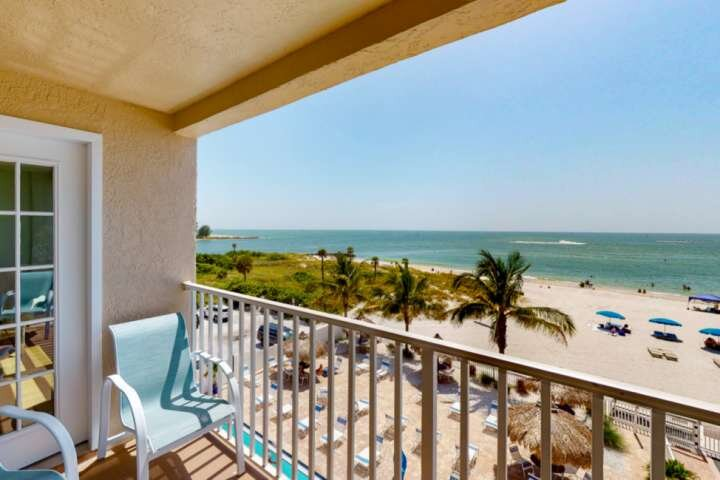 Look out to Johns Pass from your private balcony.