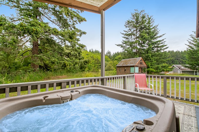 Bright cottage w/ gas fireplace & private hot tub - walk to marina & beach!, vacation rental in Deer Harbor