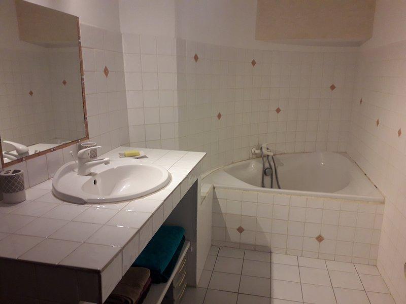 Salle bain principale avec baignoire