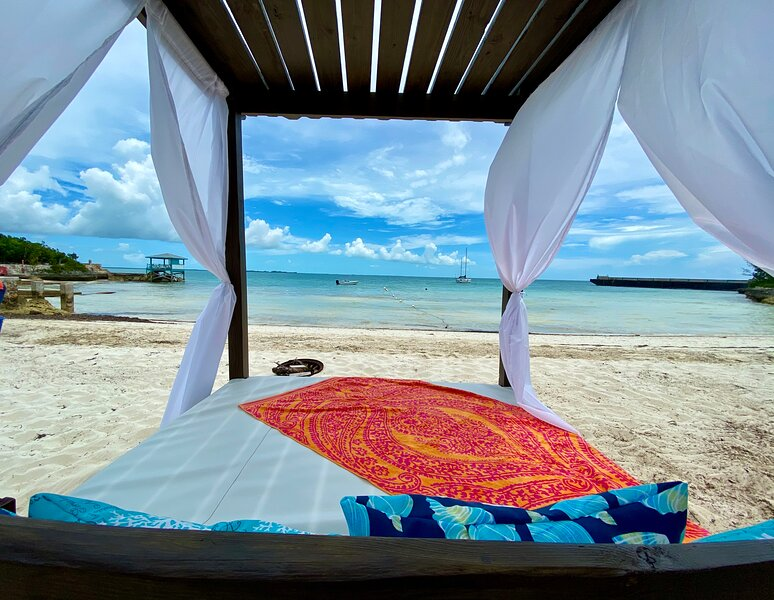enjoy your own bed right on the beach!