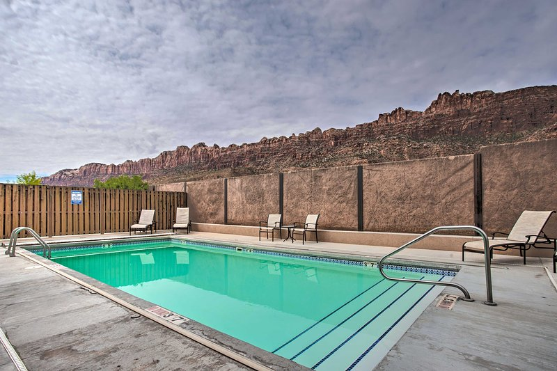 Spend days laying out poolside or exploring the surrounding red rock.