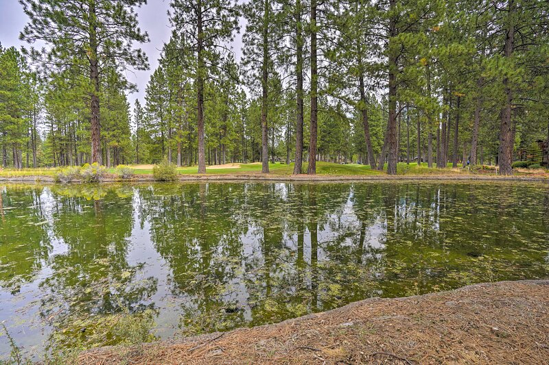 Enjoy peaceful pond views right from home.