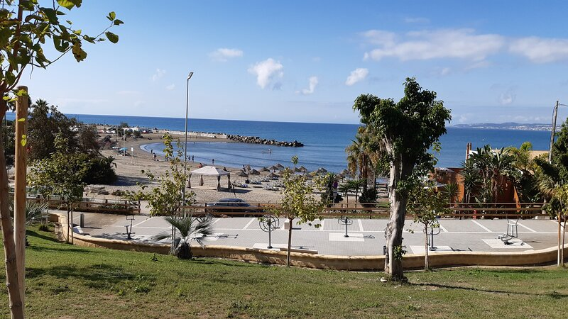 El Cristo beach Estepona September 2020 . A lovely shallow cove and another great place for a coffee