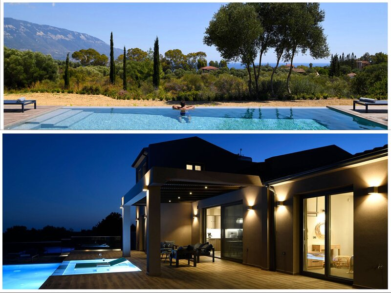 Kefalonia villas with pool: elegant, stylish 3 bedroom villa with infinity pool – semesterbostad i Spartia