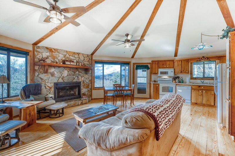 Unique dog-friendly cabin w/ wide mountain views, private hot tub, gas grill!, vacation rental in Blue Ridge