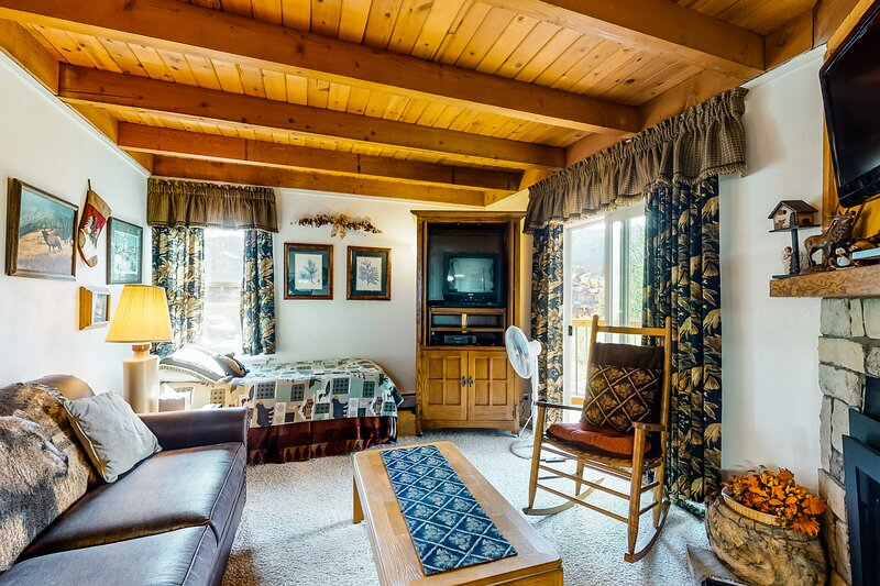 Warm, cozy condo with shared pool, hot tub, & sauna, plus ski shuttle access!, vacation rental in Wildernest
