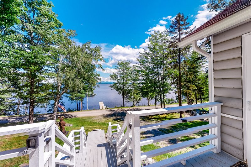 Hillside lakefront home with dock, snowmobile trails, & free WiFi - Dogs OK!, vacation rental in Jackman