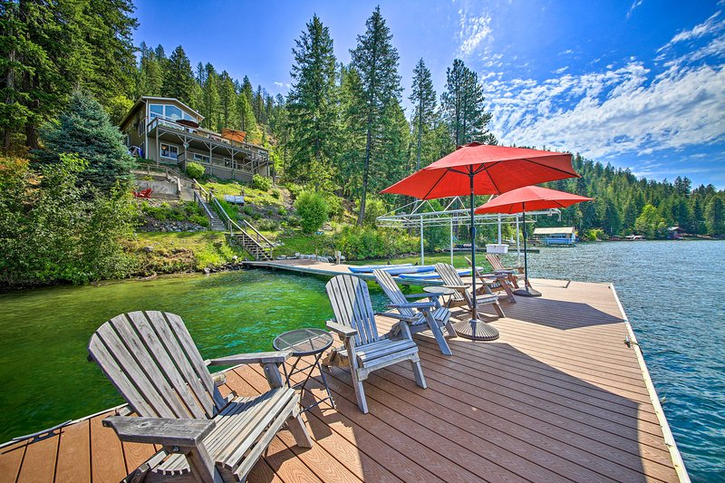 Soak up the sun from the private dock or enjoy shade from the umbrella.