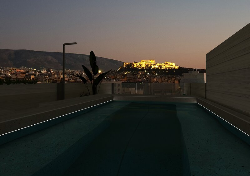 Private Rooftop Heated Pool with Acropolis View, holiday rental in Athens